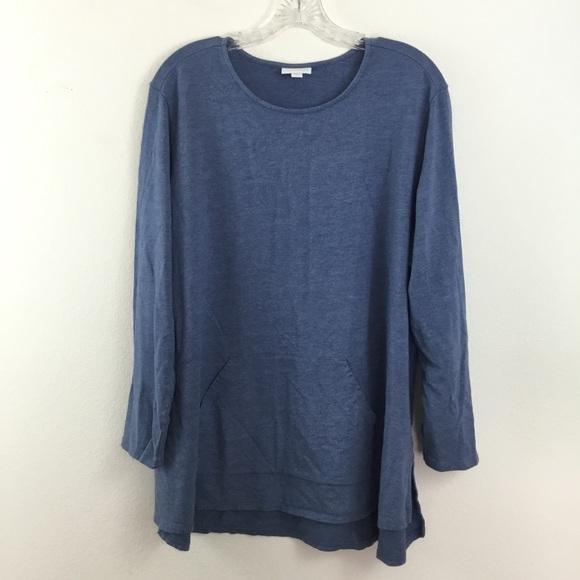 JILL XL Casual Sleep Striped Top L//S Cotton//Modal Blue NEW J